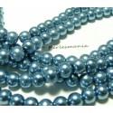 25 perles de verre nacré bleu métal 8mm ref 2G5307