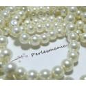 25 perles de verre nacré crème 8mm ref 2G53518