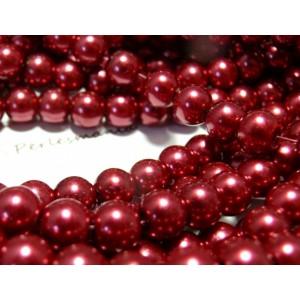 25 perles de verre nacré rouge 8mm ref 2G5319