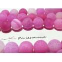 2 perles Agate craquelé effet givre rose fushia 12mm
