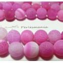 2 perles Agate craquelé effet givre rose fushia 10mm