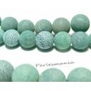 10 perles Agate craquelé  6mm effet givre vert d'eau