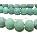 2 perles Agate craquelé 10mm effet givre vert d'eau