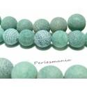 2 perles Agate craquelé 12mm effet givre vert d'eau
