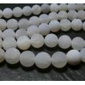 10 perles Agate craquelé 8mm effet givre blanc