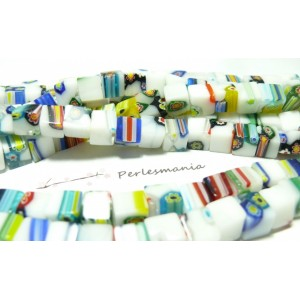 10 pieces perles en verre 8mm Cube Millefiori blanc Multicolore