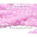 10 perles jade teintée couleur rose 6mm