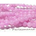 10 perles jade teintée couleur rose 8mm