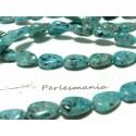 5 perles jade kiwi bleu goutte plate 7 par 12mm