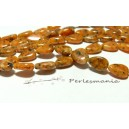 5 perles  jade kiwi orange goutte plate 7 par 12mm