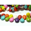 10 perles Turquoise Howlite mulitcolores goutte transversale