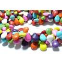 1 fil de 55 perles Turquoise Howlite mulitcolores goutte transversale