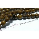 5 perles  jade teintée couleur marron café 10mm
