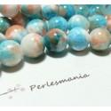 10 perles jade teintée 6mm bleu orange R7381