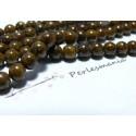10 perles jade teintée couleur marron café 6mm