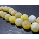 10 perles Agate craquelé 10mm effet givre jaune