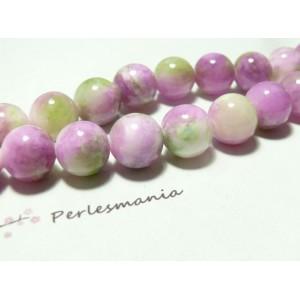 10 perles jade teintée 8mm bleu vert R73083