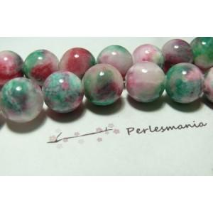 10 perles jade teintée 8mm bleu vert R7309