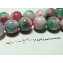 5 perles  jade teintée 10mm rose vert  R73090