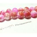 10 perles  jade teintée 8mm rose et fushia R730901