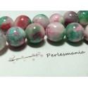 2 perles jade teintée 14mm rose vert R73090