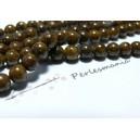 65 perles  jade teintée couleur marron café 6mm ( 1fil
