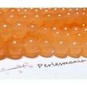 65 perles jade teintée couleur orange pastel 6mm ( 1 fil