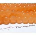 65 perles jade teintée couleur orange pastel 6mm ( 1 fil