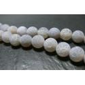10 perles Agate craquelé 10mm effet givre GRIS