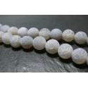 2 perles Agate craquelé 12mm effet givre GRIS