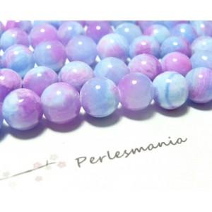 5 perles jade teintée 10mm violet et bleu R73093