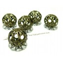 4 pieces perles Bronze arabesque ref P64Y  18mm