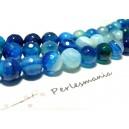 10 perles Agate du brésil facettée bleu 6mm