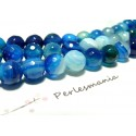 2 perles Agate du brésil facettée bleu 8mm