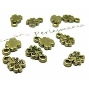 Apprêt bijoux 20 pendentifs mini trèfles ref 2DA8121 Bronze