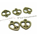 10 pendentifs coeurs ref 2D2416 Bronze