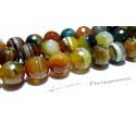 2 perles Agate du brésil facettée orange marron 14mm