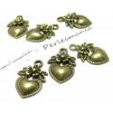 Apprêt bijoux 40 pendentifs coeurs fleur BR ref 2D2604