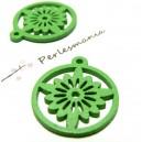 Apprêt bijoux 6 pendentifs ref P414Y fleurs bois verte