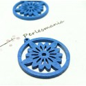 Apprêt bijoux 6 pendentifs ref P414Y fleurs bois bleu