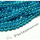 TOP prix 100 perles ( le fil ) de verre nacré bleu
