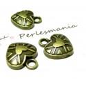 10 pendentifs coeur stylisé ref 2D2114 bronze