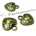 Apprêt bijoux 40 pendentifs coeur stylisé ref 2D2114 bronze