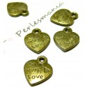 Apprêt bijoux 20 pendentifs Made with love Bronze 2Y1121