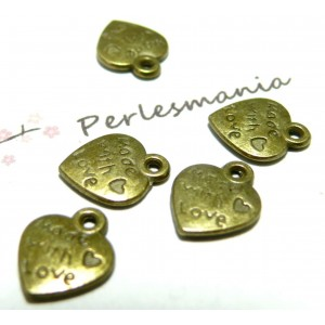 100 pendentifs Made with love Bronze