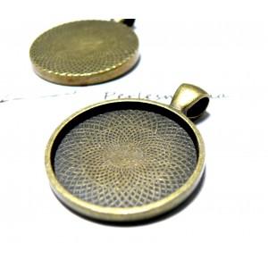 Apprêt bijoux 6 Supports de pendentif rond 25mm bronze qualité extra