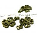 10 pieces pendentif metal couleur bronze fleur zen ref 2D1203