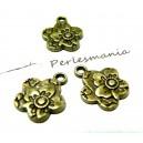 Apprêt bijoux 4 breloques fleurs zen ref 2D2417 Bronze