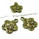 Apprêt bijoux 10  breloques fleurs zen ref 2D2417 Bronze