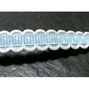 1 mètre ruban ajouré avec pois couleur bleu ciel